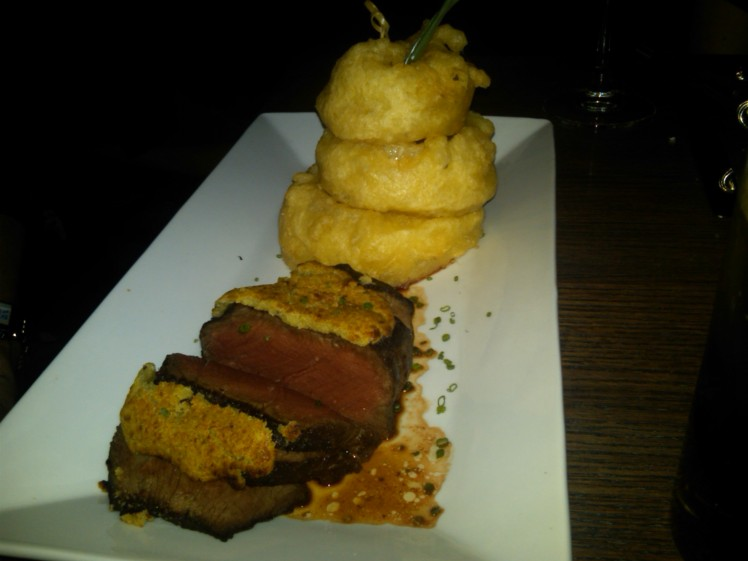 Wasabi crusted steak & beer-battered onion rings