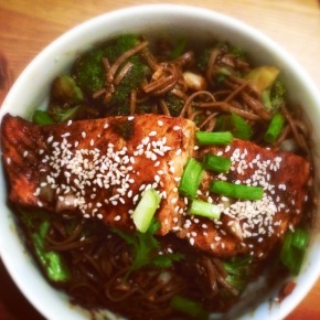 Ginger & Soy Glazed Salmon with Soba Noodles